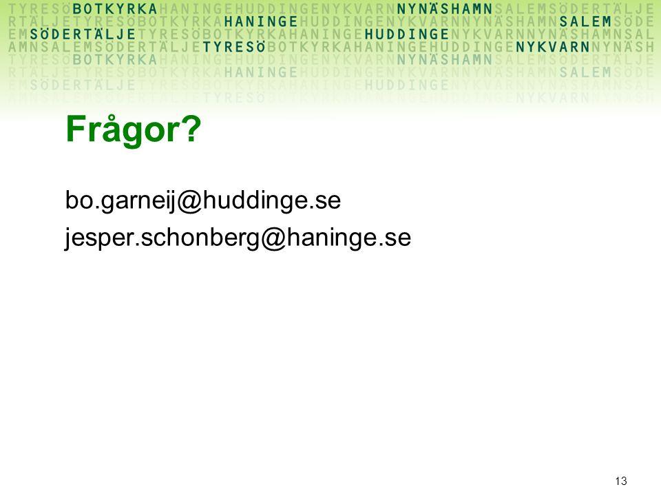 Frågor bo.garneij@huddinge.se jesper.schonberg@haninge.se