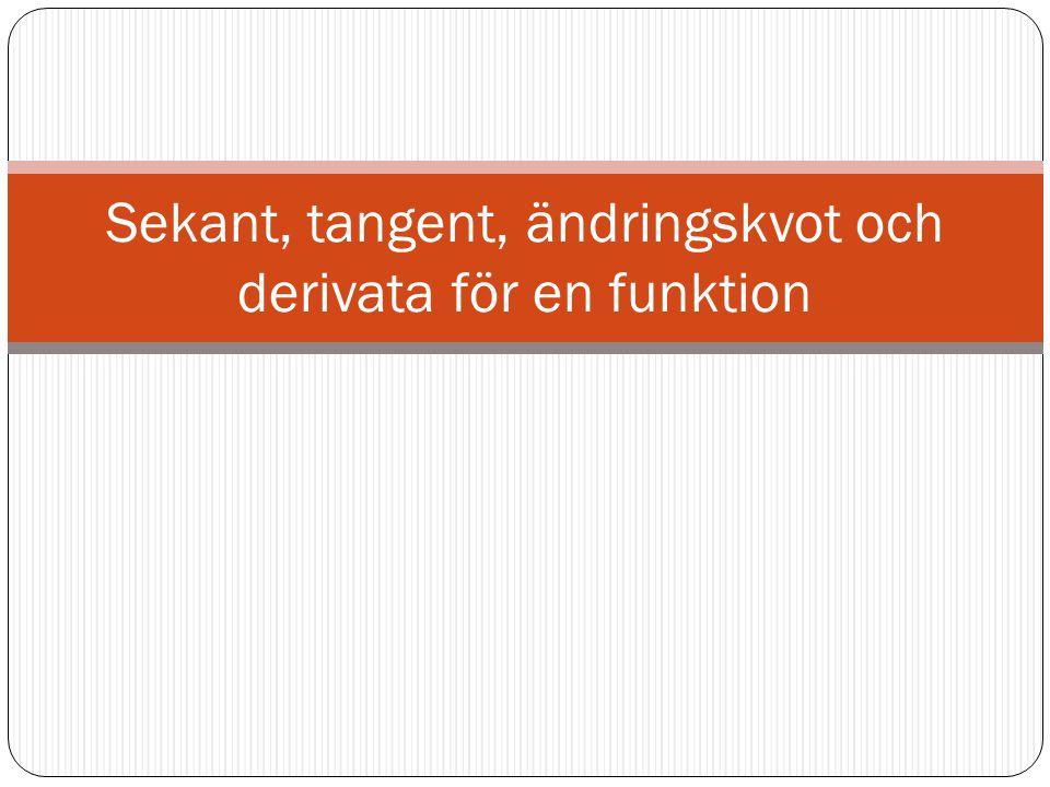 Sekant, tangent, ändringskvot och derivata för en funktion