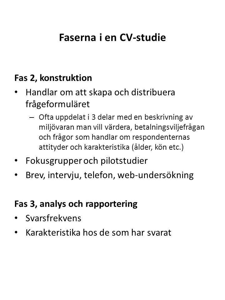 Faserna i en CV-studie Fas 2, konstruktion
