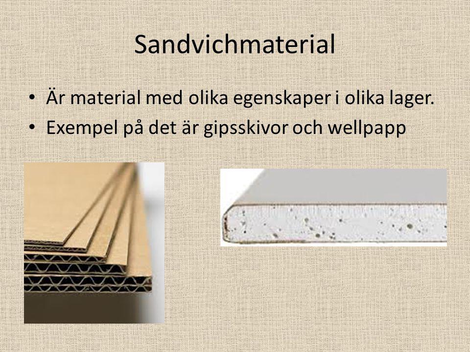 Sandvichmaterial Är material med olika egenskaper i olika lager.