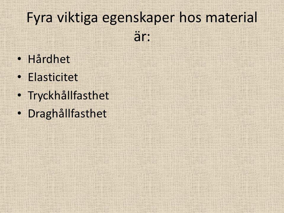 Fyra viktiga egenskaper hos material är: