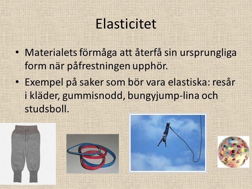 Elasticitet Materialets förmåga att återfå sin ursprungliga form när påfrestningen upphör.