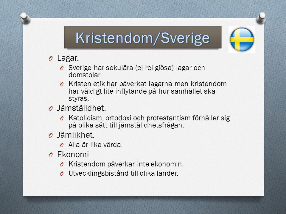 Kristendom/Sverige Lagar. Jämställdhet. Jämlikhet. Ekonomi.