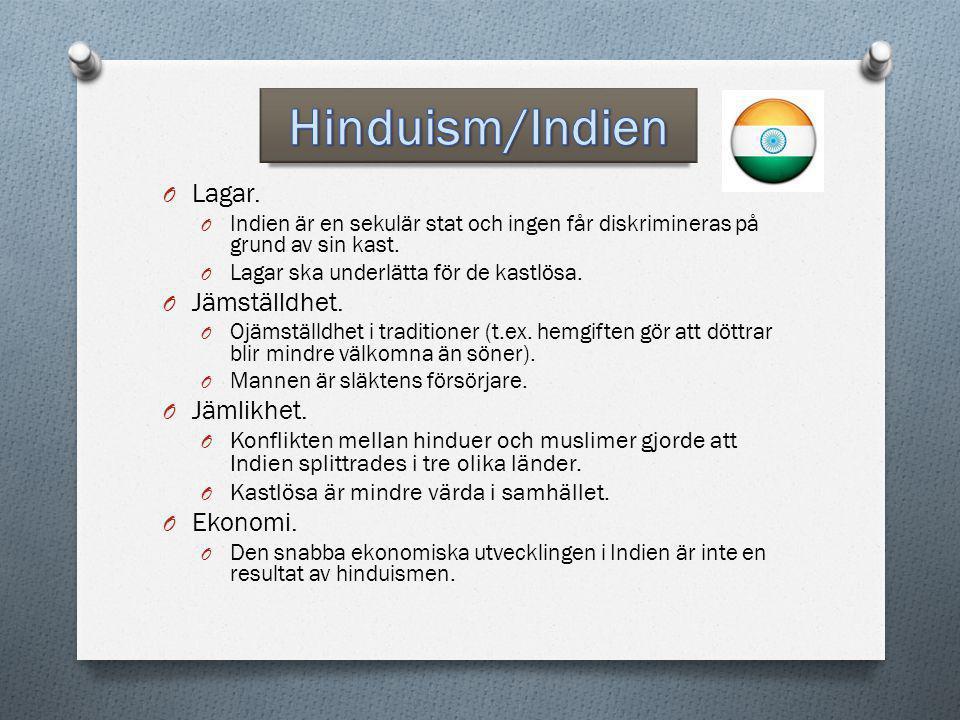 Hinduism/Indien Lagar. Jämställdhet. Jämlikhet. Ekonomi.