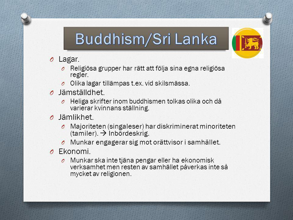 Buddhism/Sri Lanka Lagar. Jämställdhet. Jämlikhet. Ekonomi.