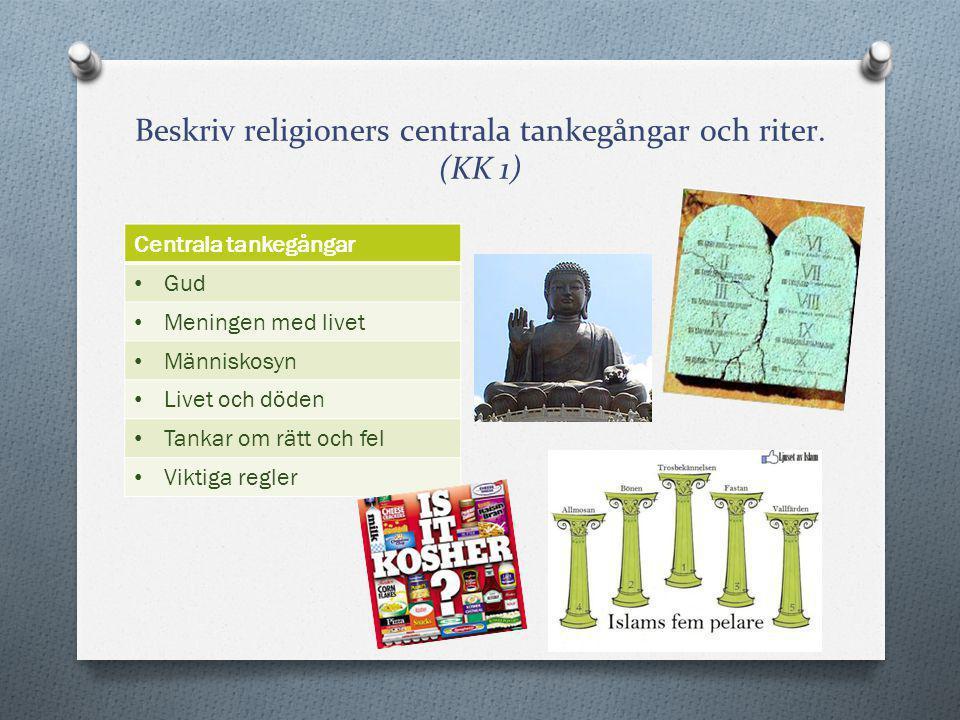 Beskriv religioners centrala tankegångar och riter. (KK 1)