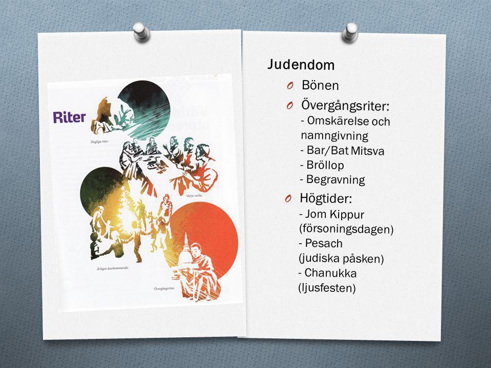 Judendom Bönen. Övergångsriter: - Omskärelse och namngivning - Bar/Bat Mitsva - Bröllop - Begravning.