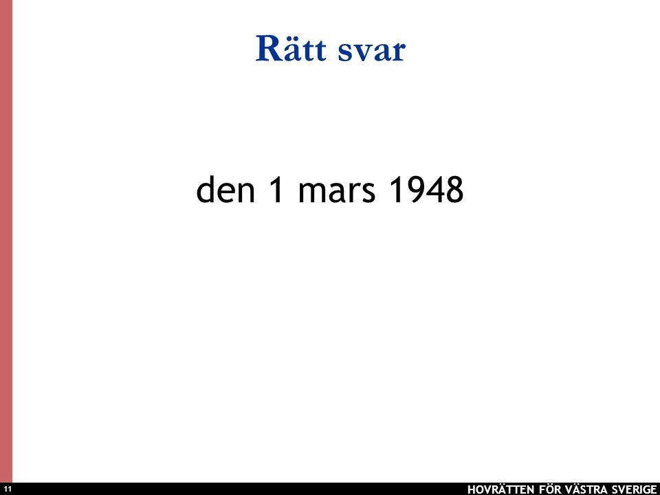 Rätt svar den 1 mars 1948 HOVRÄTTEN FÖR VÄSTRA SVERIGE