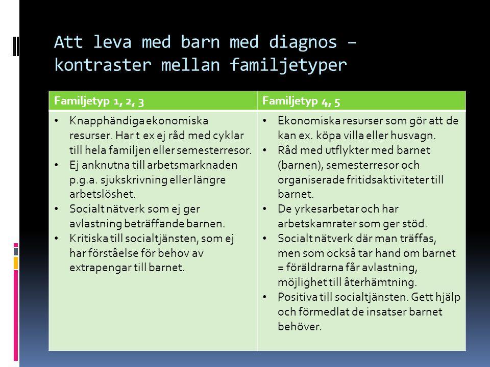 Att leva med barn med diagnos – kontraster mellan familjetyper