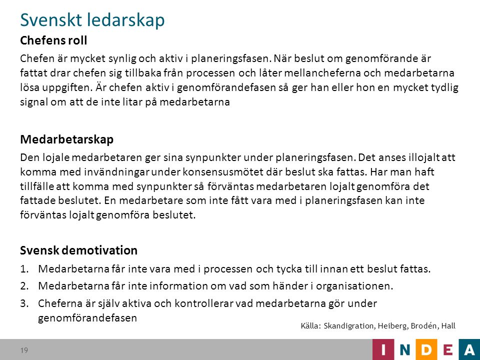 Svenskt ledarskap Chefens roll Medarbetarskap Svensk demotivation