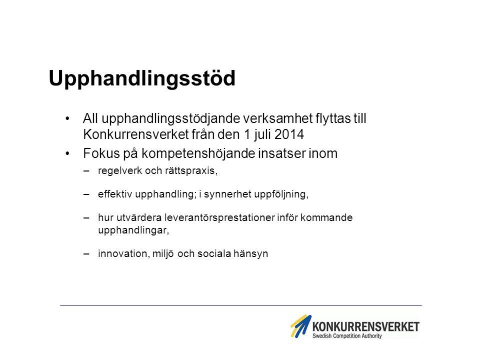 Upphandlingsstöd All upphandlingsstödjande verksamhet flyttas till Konkurrensverket från den 1 juli 2014.