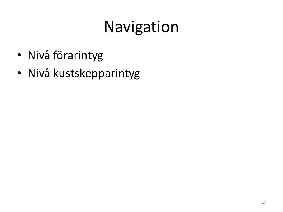 Navigation Nivå förarintyg Nivå kustskepparintyg