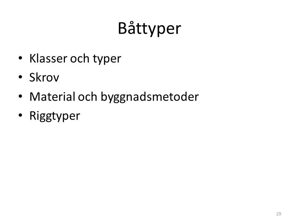 Båttyper Klasser och typer Skrov Material och byggnadsmetoder