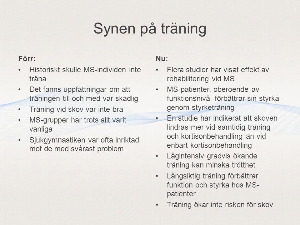 Synen på träning Förr: Historiskt skulle MS-individen inte träna