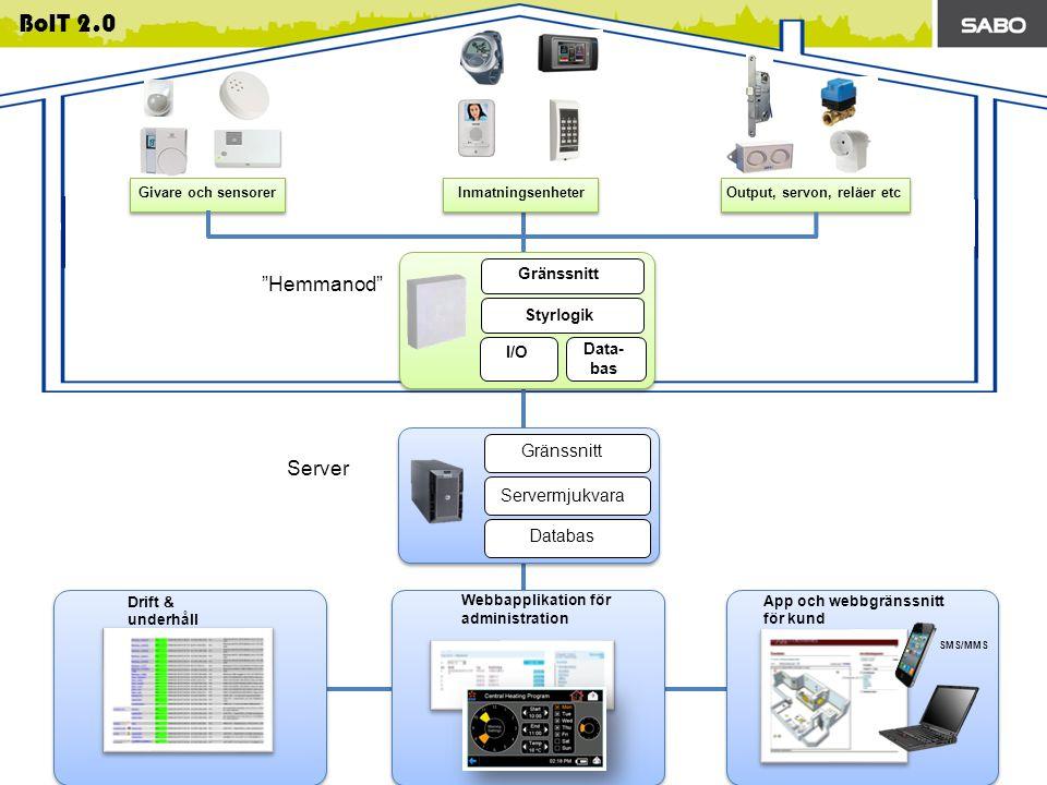 Hemmanod Server Gränssnitt Servermjukvara Databas Gränssnitt