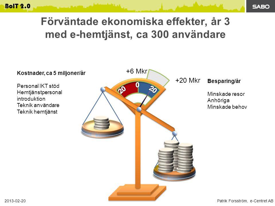 Förväntade ekonomiska effekter, år 3 med e-hemtjänst, ca 300 användare