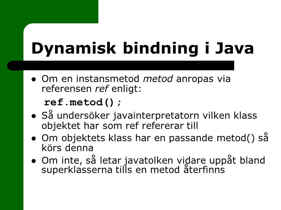 Dynamisk bindning i Java