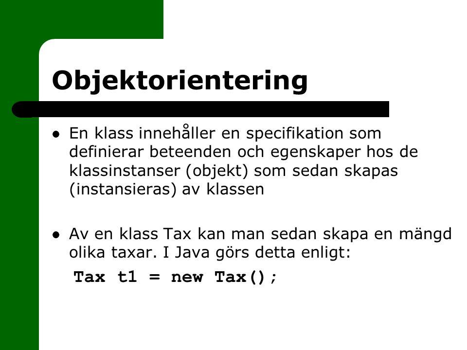 Objektorientering Tax t1 = new Tax();