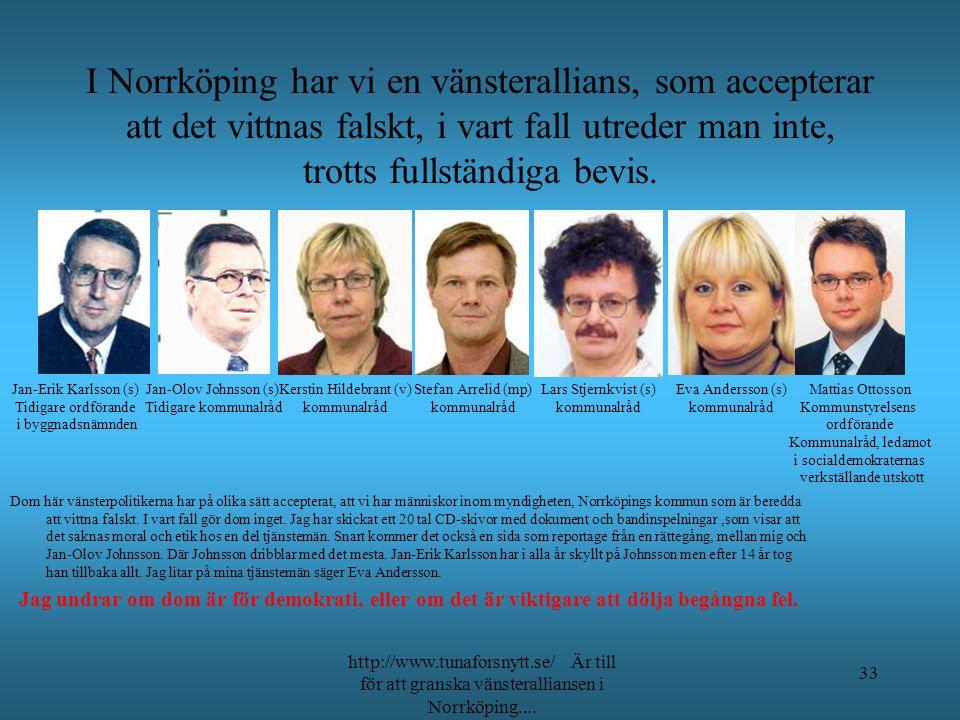 I Norrköping har vi en vänsterallians, som accepterar att det vittnas falskt, i vart fall utreder man inte, trotts fullständiga bevis.