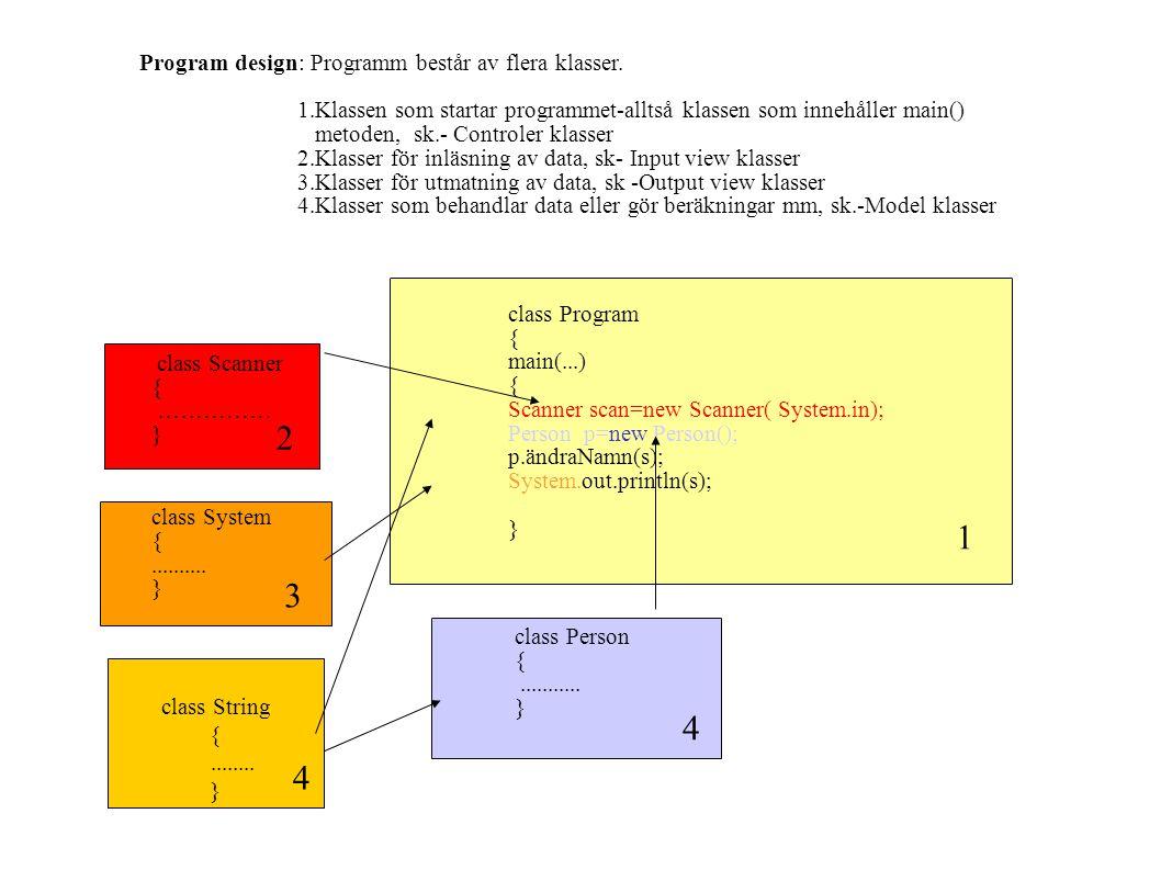 2 1 3 4 4 Program design: Programm består av flera klasser.