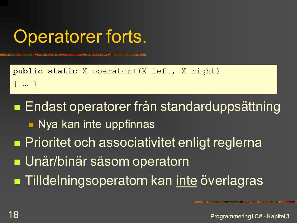 Operatorer forts. Endast operatorer från standarduppsättning