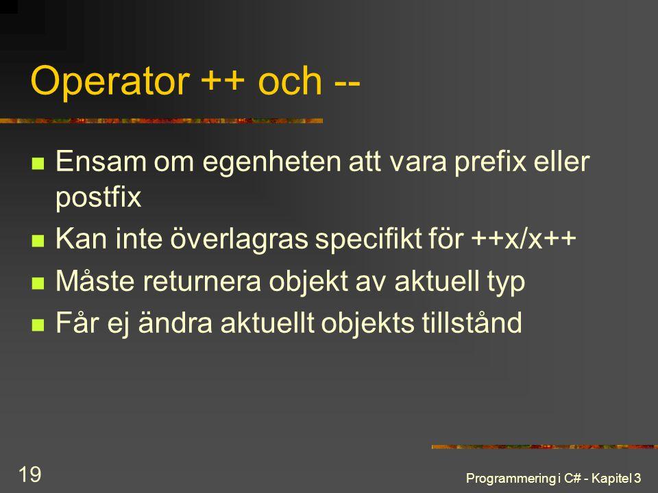Operator ++ och -- Ensam om egenheten att vara prefix eller postfix