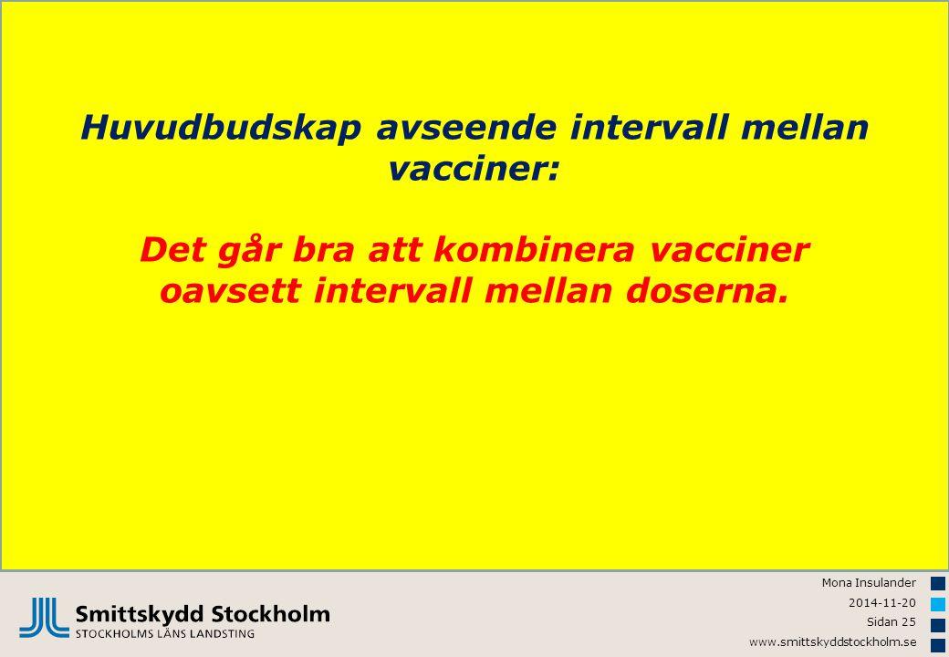 Huvudbudskap avseende intervall mellan vacciner: