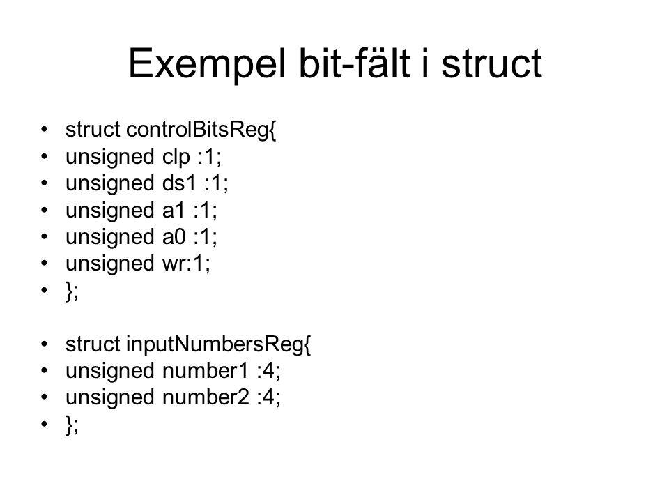 Exempel bit-fält i struct