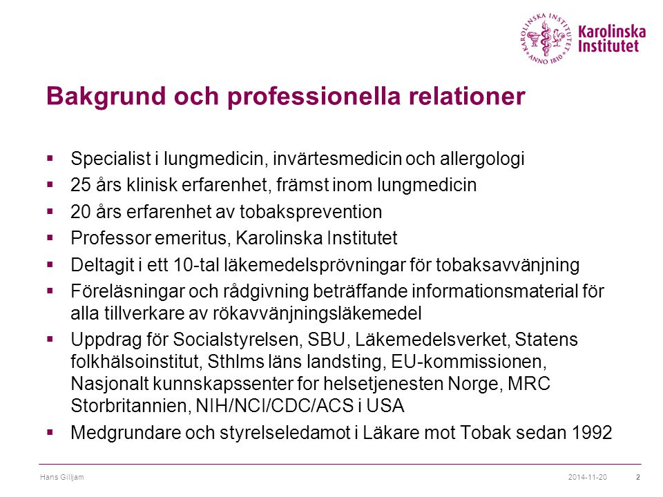 Bakgrund och professionella relationer