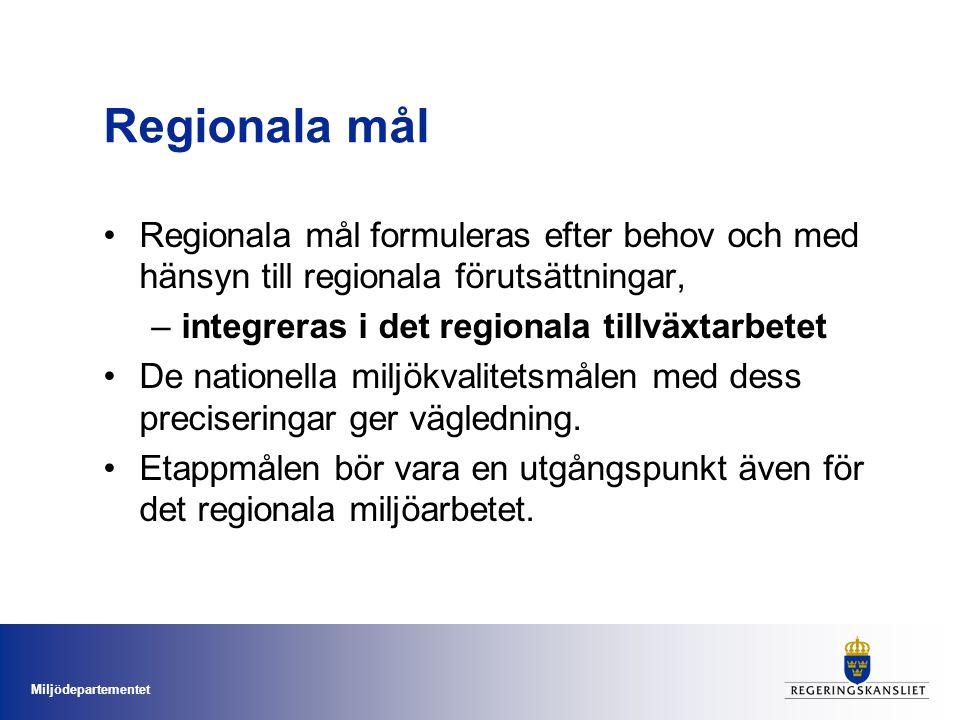 Regionala mål Regionala mål formuleras efter behov och med hänsyn till regionala förutsättningar, integreras i det regionala tillväxtarbetet.