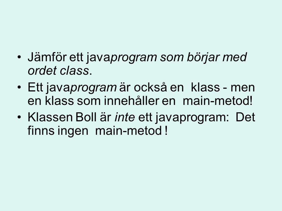Jämför ett javaprogram som börjar med ordet class.