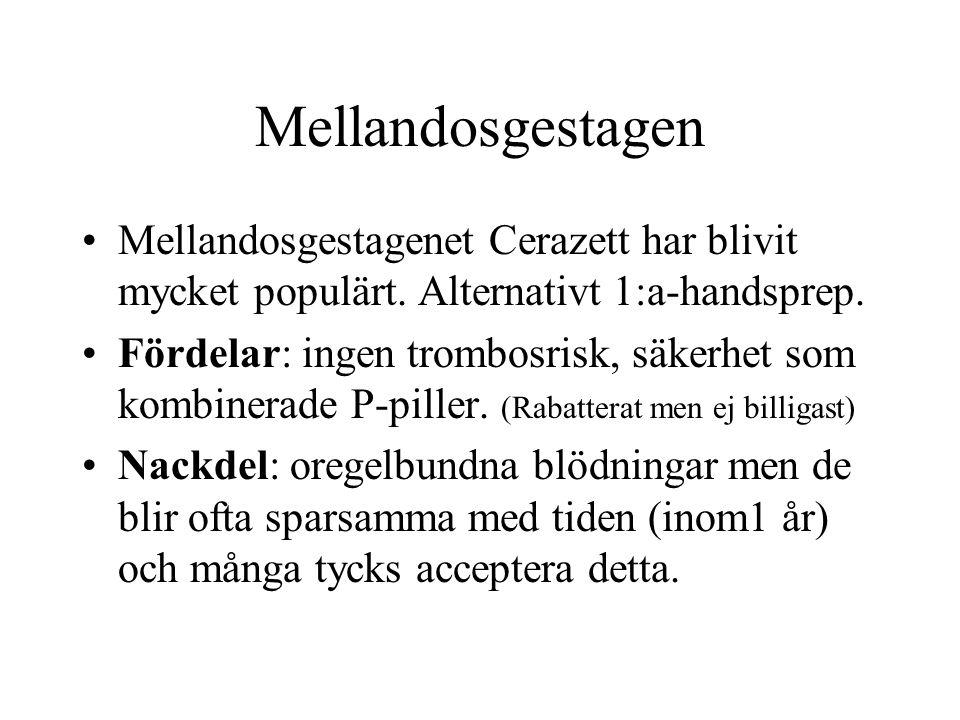 Mellandosgestagen Mellandosgestagenet Cerazett har blivit mycket populärt. Alternativt 1:a-handsprep.