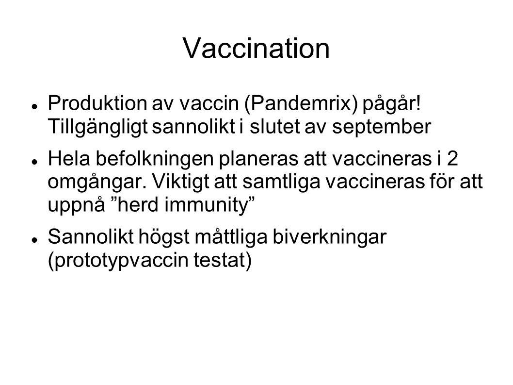 Vaccination Produktion av vaccin (Pandemrix) pågår! Tillgängligt sannolikt i slutet av september.