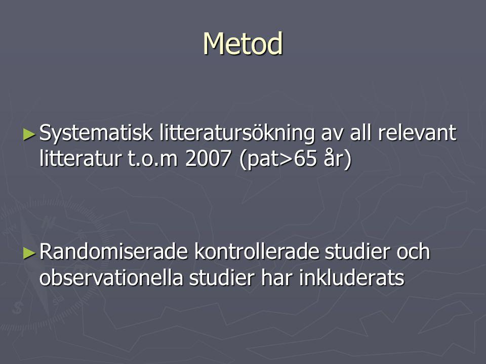 Metod Systematisk litteratursökning av all relevant litteratur t.o.m 2007 (pat>65 år)