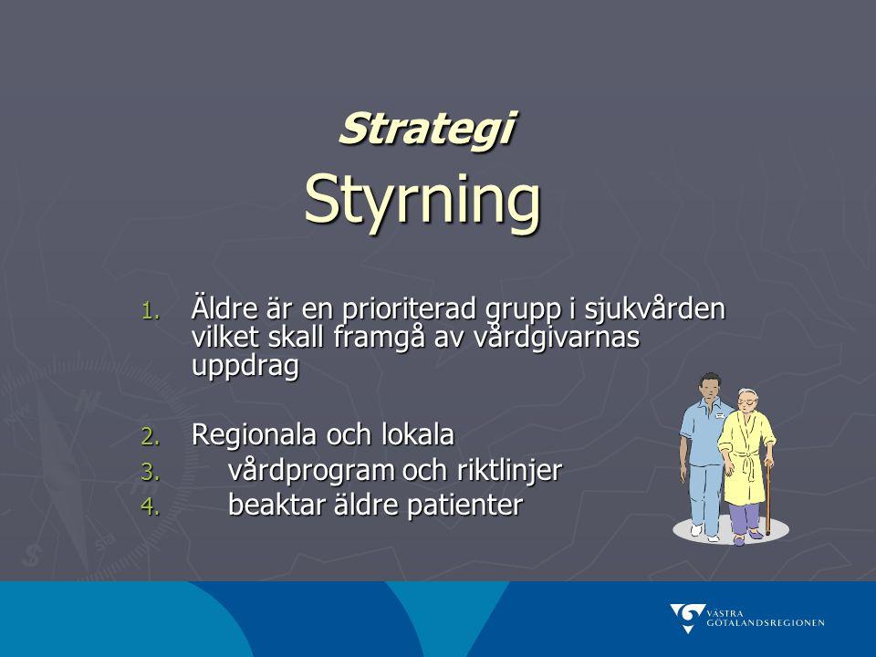 Strategi Styrning Äldre är en prioriterad grupp i sjukvården vilket skall framgå av vårdgivarnas uppdrag.