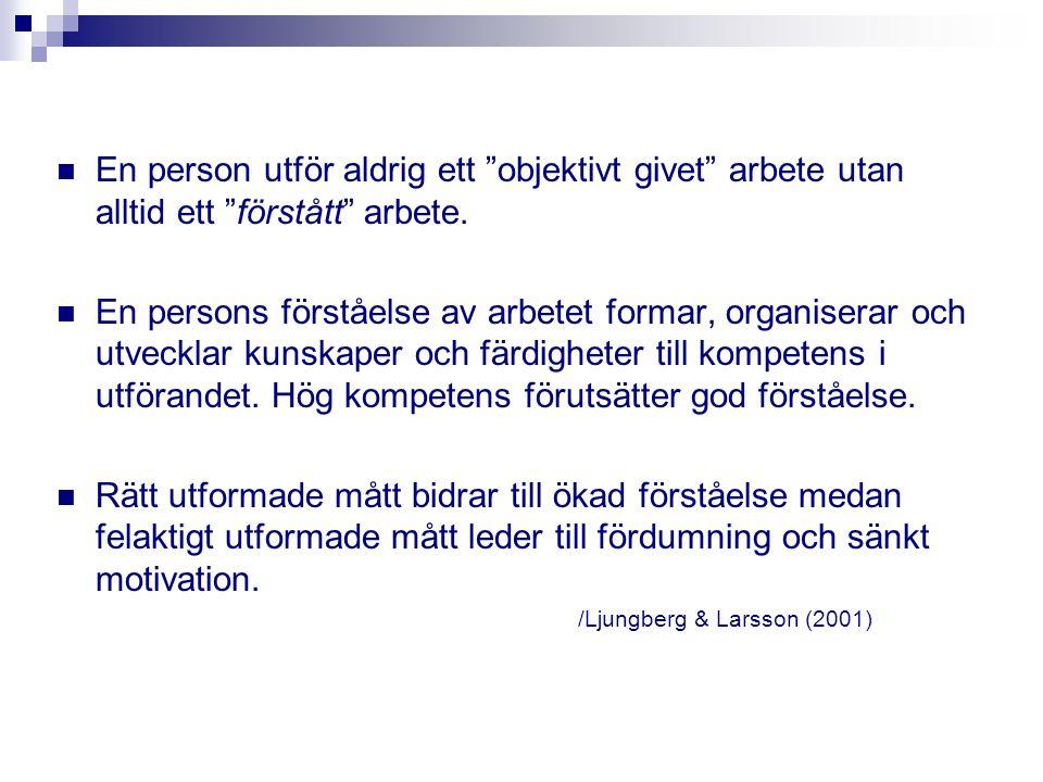 En person utför aldrig ett objektivt givet arbete utan alltid ett förstått arbete.