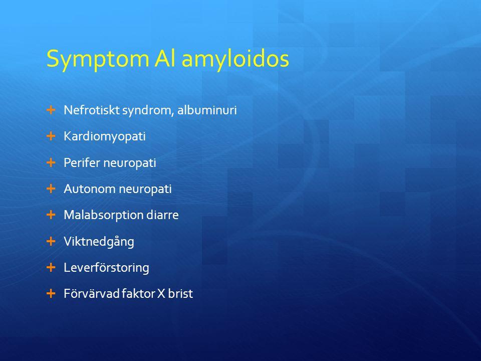 Symptom Al amyloidos Nefrotiskt syndrom, albuminuri Kardiomyopati