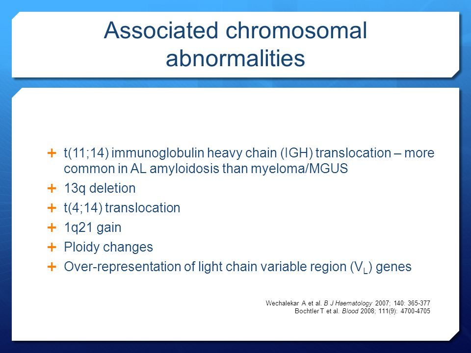 Associated chromosomal abnormalities