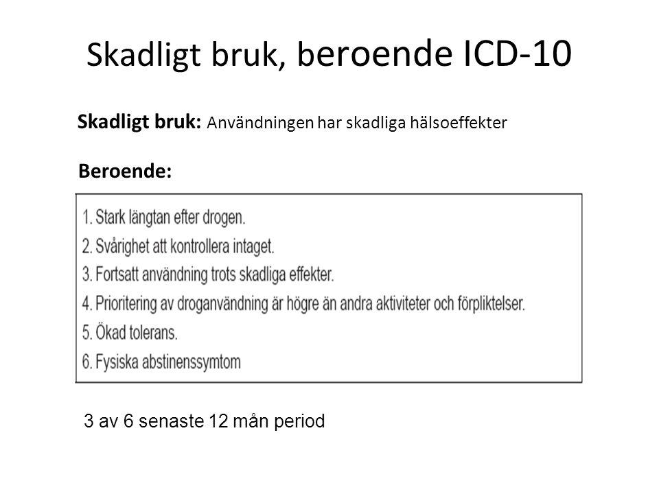 Skadligt bruk, beroende ICD-10