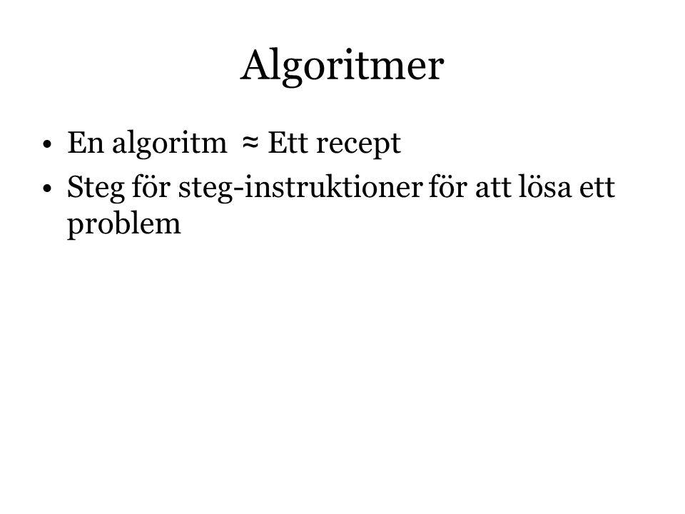 Algoritmer En algoritm ≈ Ett recept