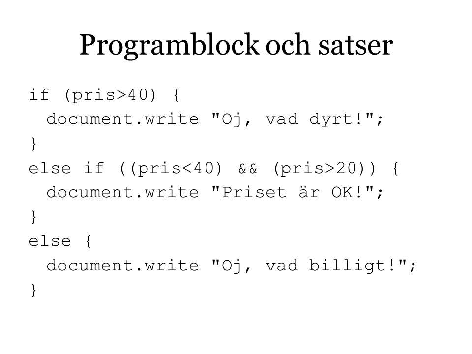 Programblock och satser
