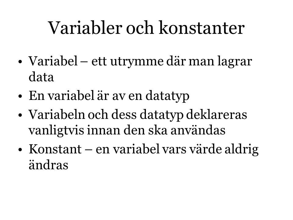 Variabler och konstanter