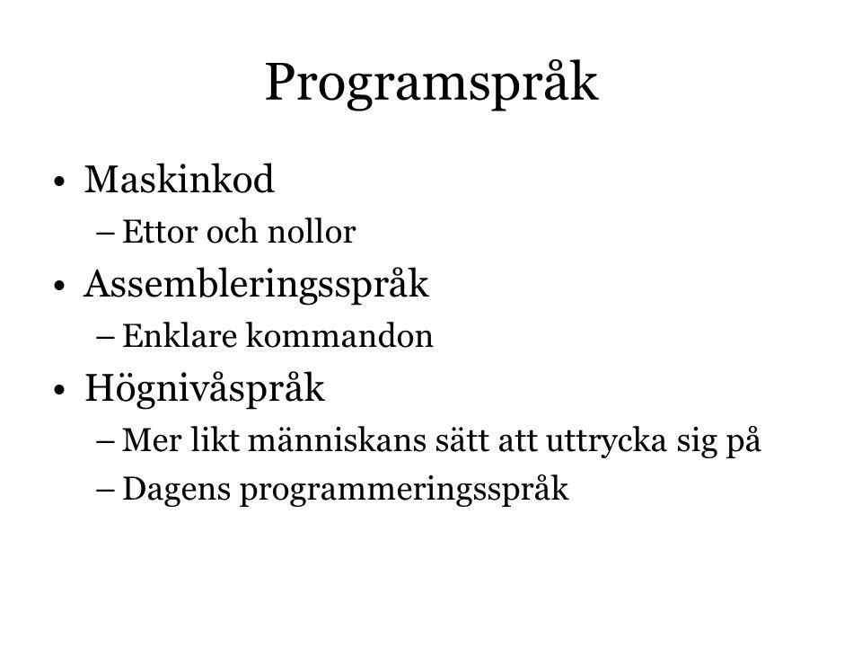 Programspråk Maskinkod Assembleringsspråk Högnivåspråk