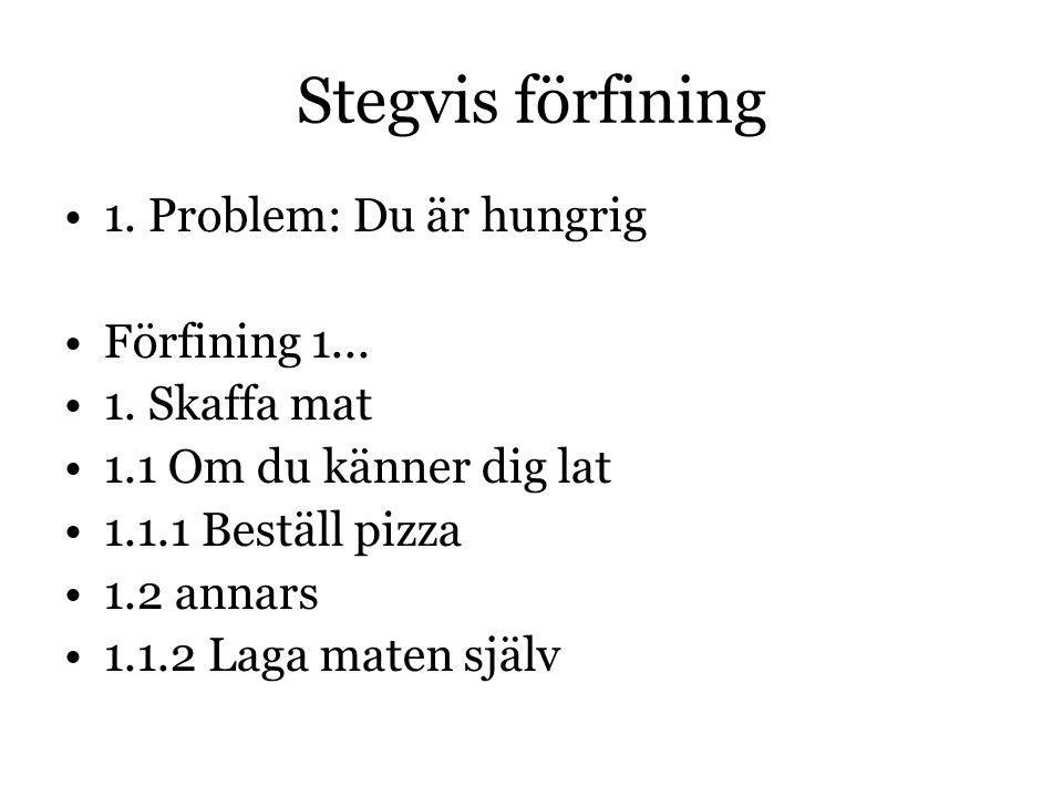 Stegvis förfining 1. Problem: Du är hungrig Förfining 1...