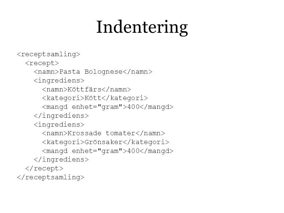 Indentering <receptsamling> <recept>