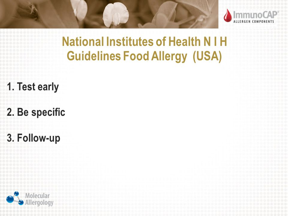 National Institutes of Health N I H Guidelines Food Allergy (USA)