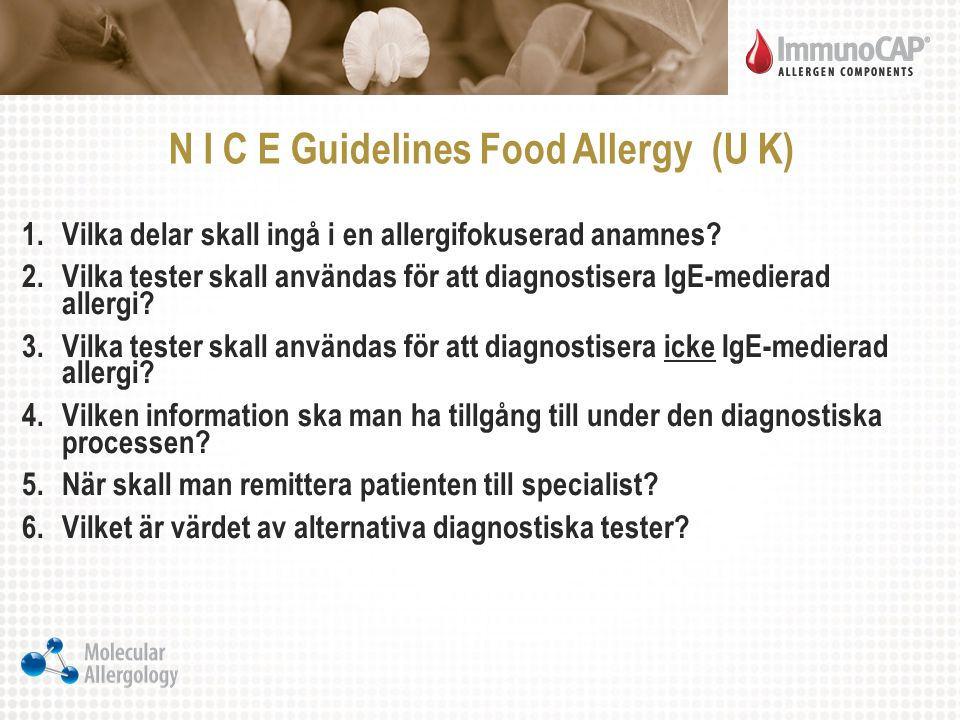 N I C E Guidelines Food Allergy (U K)