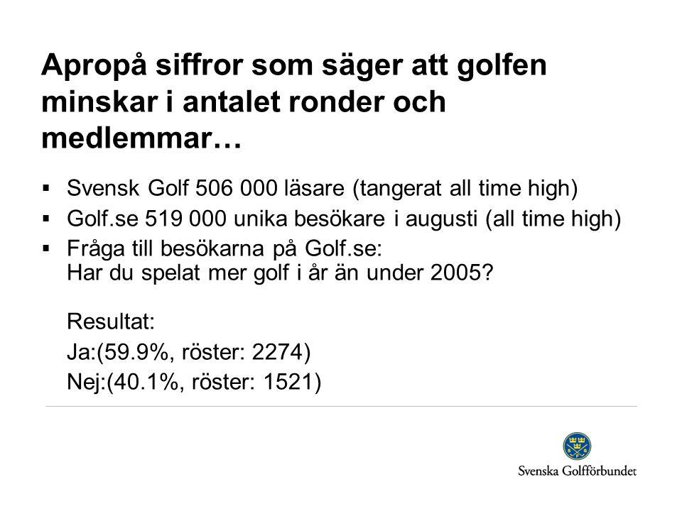 Apropå siffror som säger att golfen minskar i antalet ronder och medlemmar…