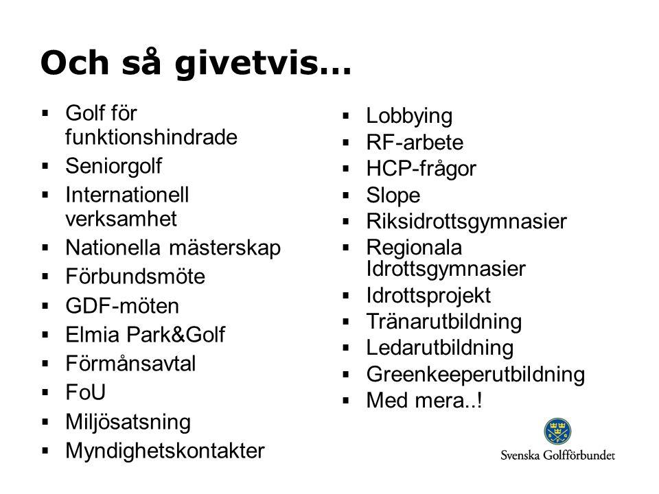 Och så givetvis… Golf för funktionshindrade Lobbying RF-arbete