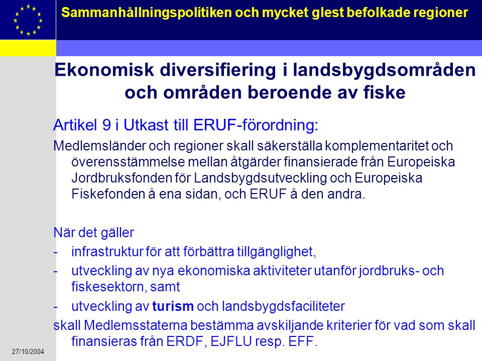 Ekonomisk diversifiering i landsbygdsområden och områden beroende av fiske